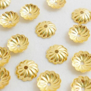 7mm-fluted-bead-cap-gold-plated
