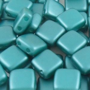 czechmates-2-hole-tile-beads-satin-metallic-teal