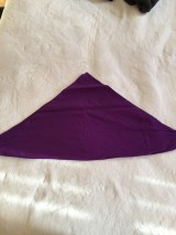 Square purple headscarf folded in half of white background.