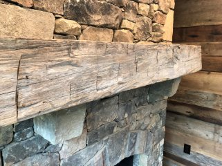 Custom Mantle of Reclaimed wood by High Mountain Millwork Company - Franklin, NC #324