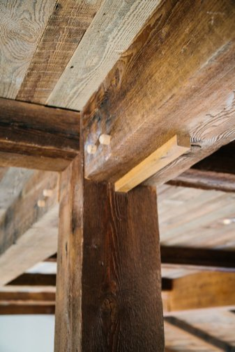 Custom Reclaimed Wood Beams by High Mountain Millwork Company - Franklin, NC