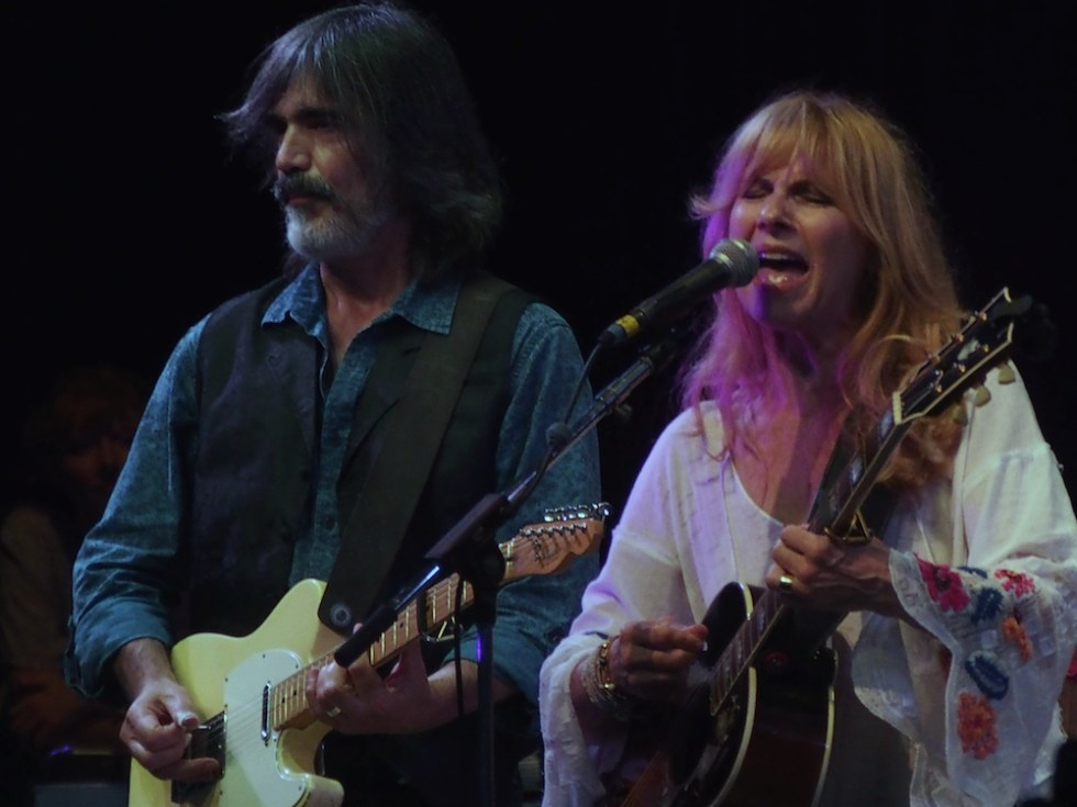 Larry Campbell and Teresa Williams perform Saturday evening on the Martin Guitar Main Stage at the 56th annual Philadelphia Folk Festival (The High Note/ Shaun R. Smith).