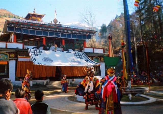 A traditional dance held at Lachen Monastery