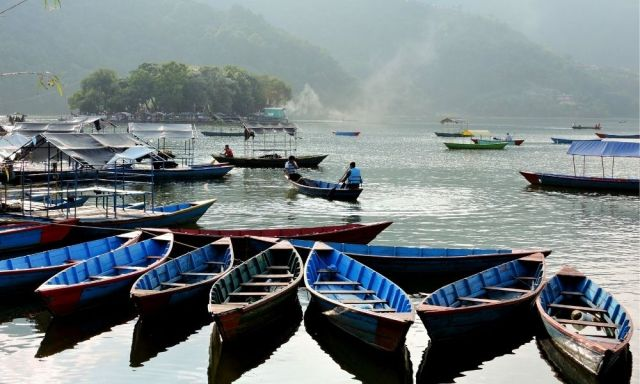 Boats parked at Phewa Lake in Pokhara
