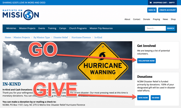 hurricane florience relief website