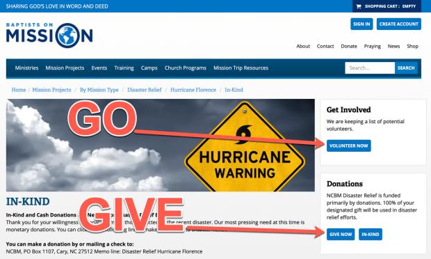 hurricane florience relief website