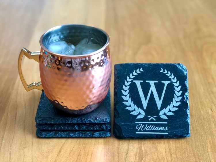 Monogrammed slate coaster with Moscow Mule