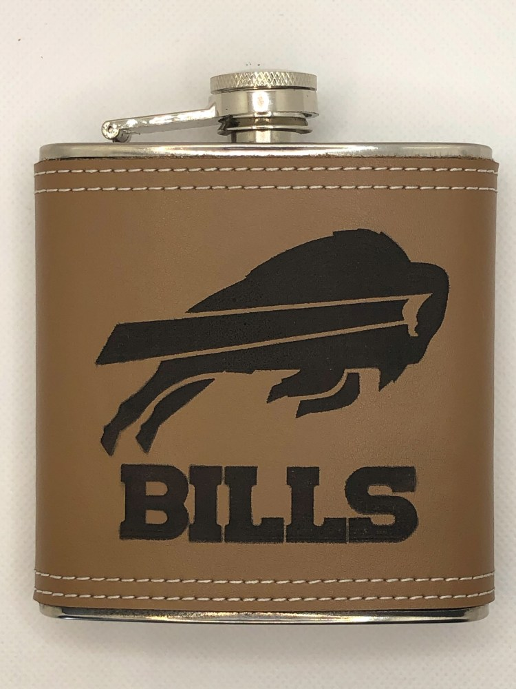 Leather flask, laser engraved with Buffalo Bills Logo