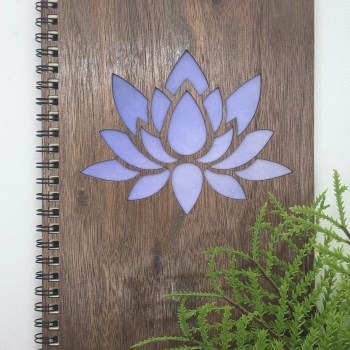 Lotus designed wood covered notebook