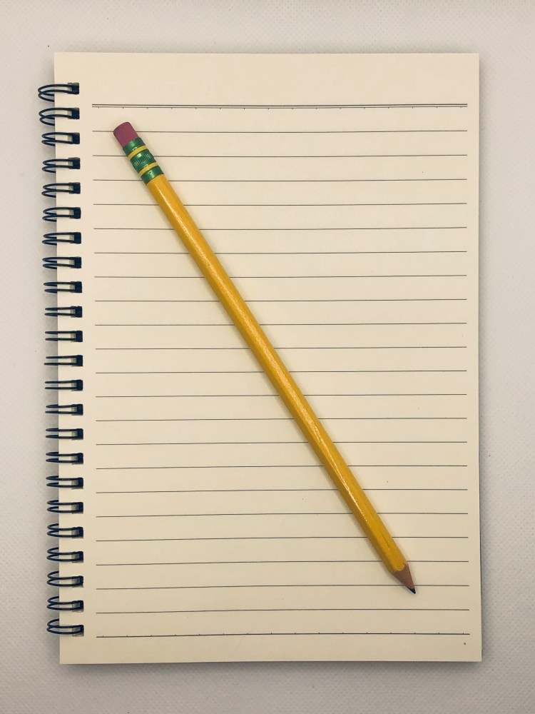 Inside of notebook, lined paper