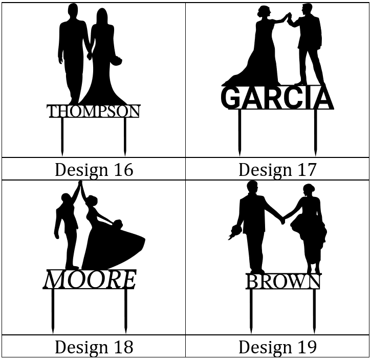 Customizable Wedding Cake Toppers Designs 16-19