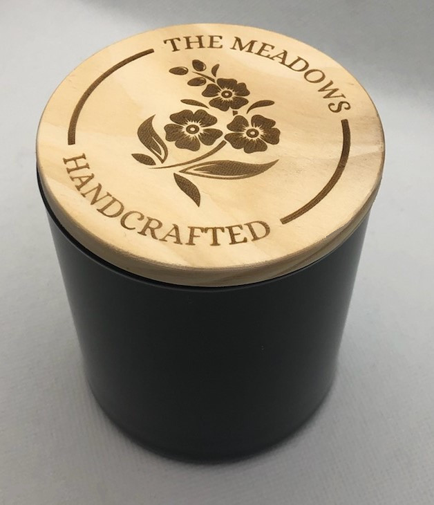 Black Candle Jar with Wooden Lid Closeup