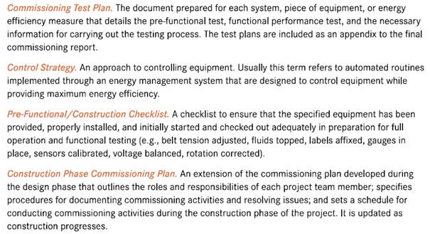 reports training and checklists building commissioning benefits for example
