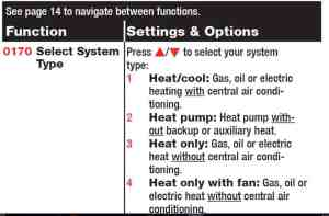 programming thermostat equipment type