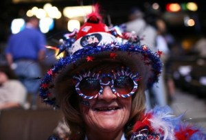 DENVER - AUGUST 26: Ohio delegate Peggy Tanksley displays her Democratic Party pride during day two of the Democratic National Convention (DNC) at the Pepsi Center August 26, 2008 in Denver, Colorado. U.S. Sen. Barack Obama (D-IL) will be officially be nominated as the Democratic candidate for U.S. president on the last day of the four-day convention. (Photo by Justin Sullivan/Getty Images)
