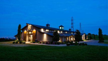 High Pointe Luxury Development Barn at Night