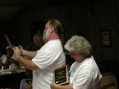 Craig and Mary Jane Noland Receiving Vin Hoeman Award during the Highpointers 2002 Convention at Black Mesa, Oklahoma