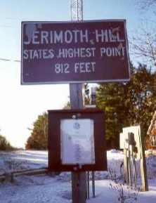 RI road sign, photographed 2-20-00, of the state road sign for Jerimoth Hill with the new club sign, about open access dates, placed below