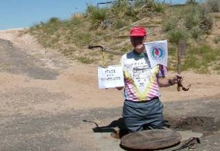 Jim Sutton Digging for the Actual Kansas-Colorado-Oklahoma Tripoint in Cimmarron County During Highpointers 2002 Convention at Black Mesa, Oklahoma