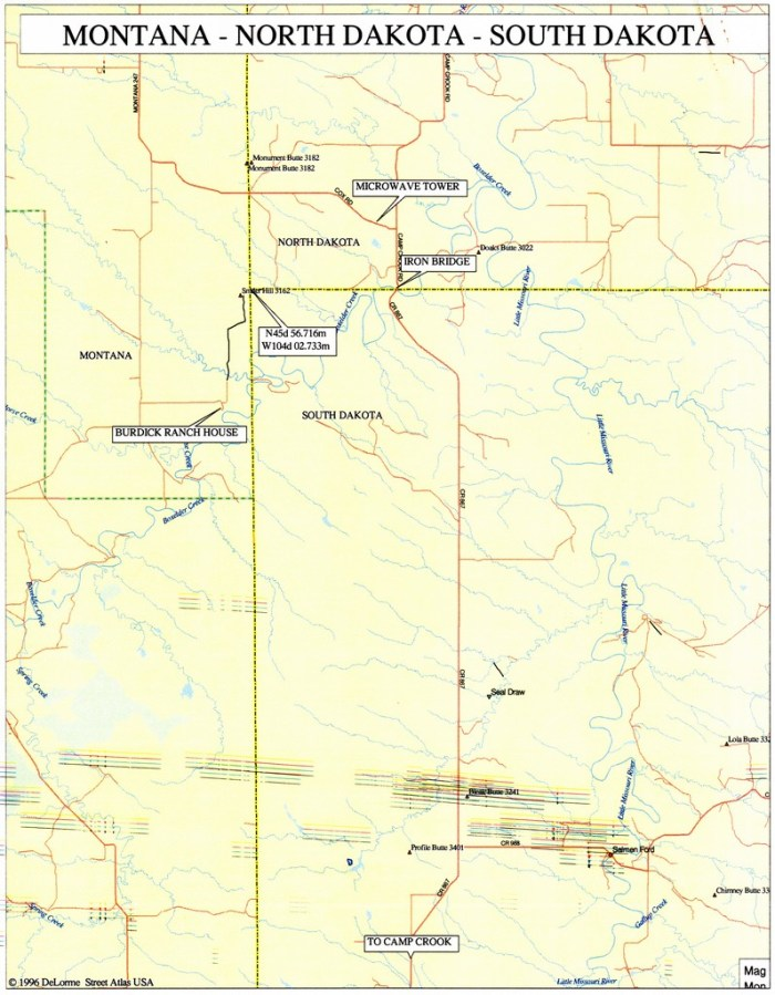 9 MT-ND-SD: Map courtesy of Greg Weiler. | Highpointers Club on mn map, vg map, wy map, co map, il map, wi map, tx map, cif map, canada map, usa map, penh map, nd map, kr map, id map, pal map, south dakota highway map, ne map, tn map, et map, eastern ia map,