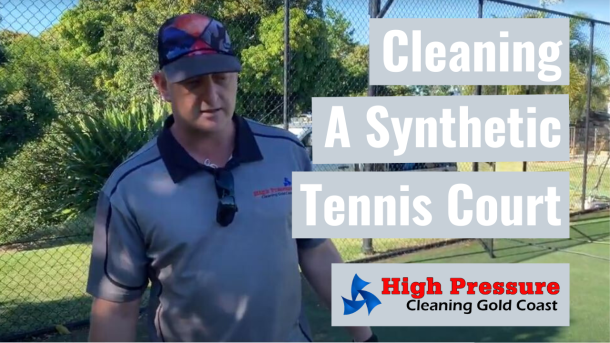 Cleaning a Synthetic Grass Tennis Court