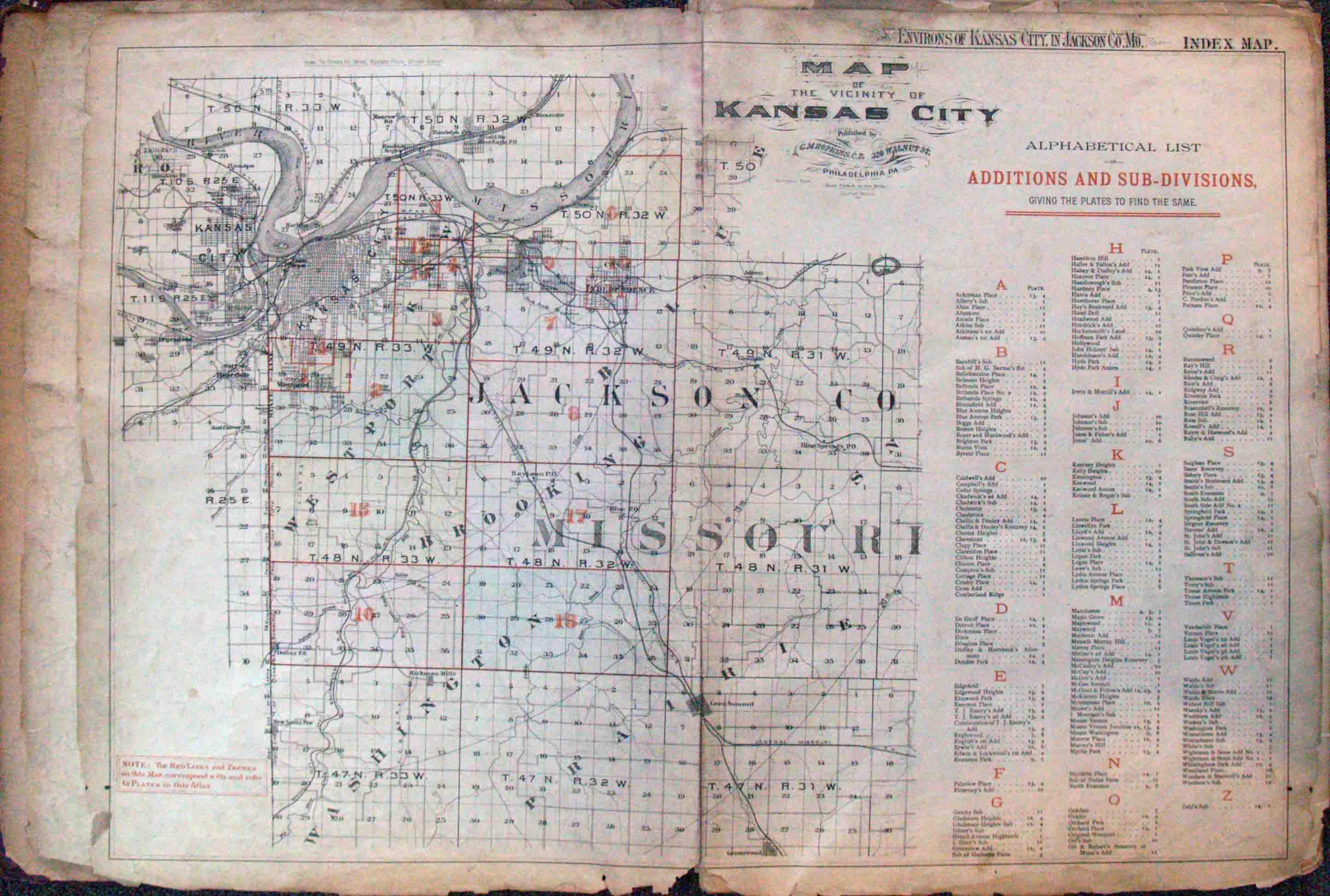 Atlas Of The Environs Of Kansas City In Jackson