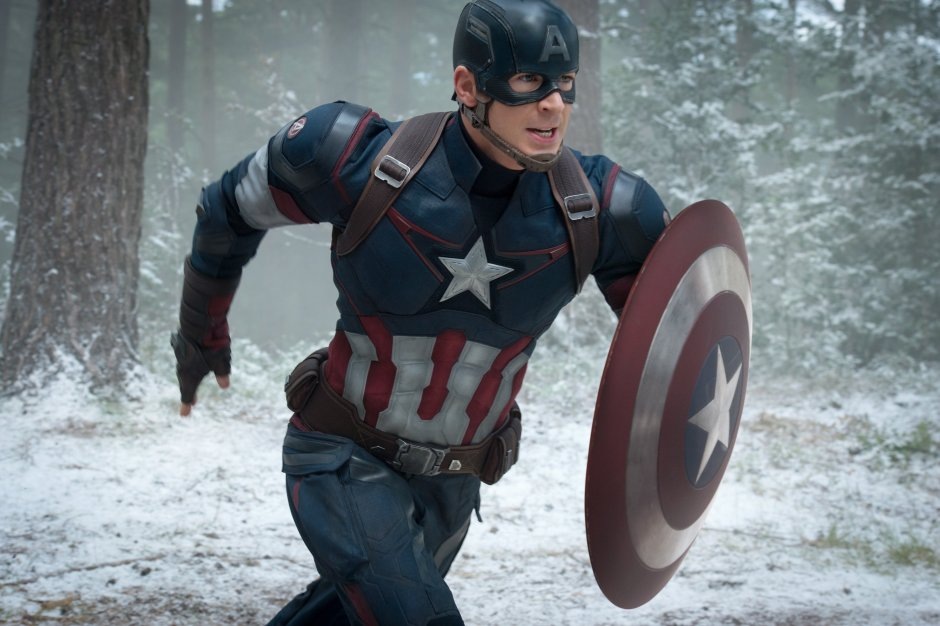 "This photo provided by Disney/Marvel shows, Chris Evans as Captain America/Steve Rogers, in the new film, ""Avengers: Age Of Ultron."" The movie releases in U.S. theaters on May 1, 2015. (Jay Maidment/Disney/Marvel via AP)"