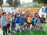 The group takes a picture before boarding their boat at the floating gardens of Xochimilco.