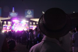 A Korean athlete watches the Opening Ceremony performances at the Los Angeles Memorial Coliseum on Saturday.