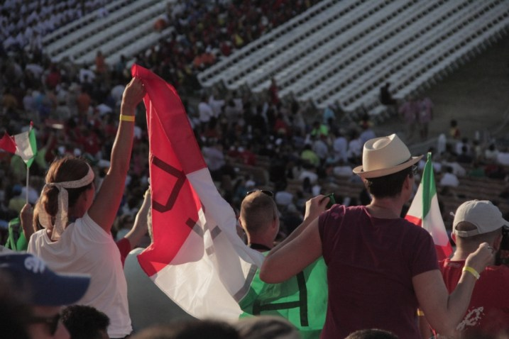 Fans show support for their countries during the Special Olympics World Games Opening Ceremony at the Los Angeles Memorial Coliseum on Saturday.