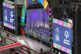 The line leaders gather on stage to represent the diversity of the Games during the Special Olympics World Games Opening Ceremony on Saturday.
