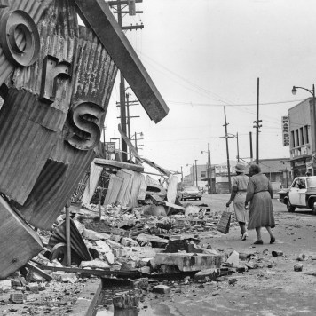 Burned out building from 1965 Watts Riots. Los Angeles Times file photo.