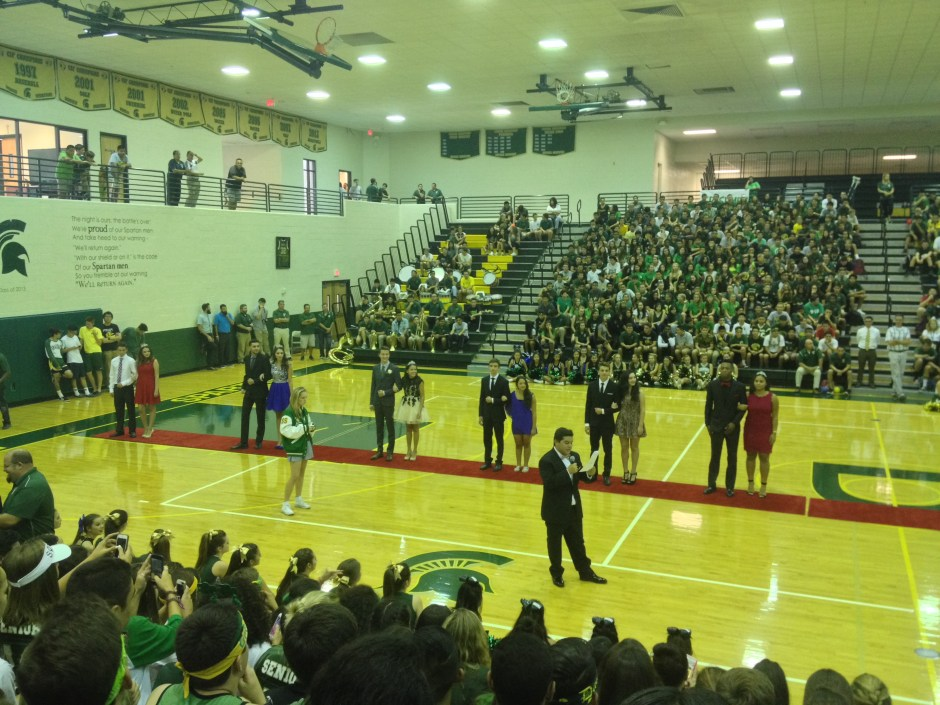 Presentation of the homecoming court with their escorts. Photo by Abigail Felix.
