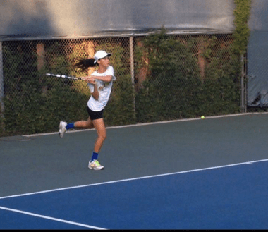 Freshman Francesca Yao has been playing tennis for many years, and trains hard every day. (Photo courtesy of Paulette Yao)