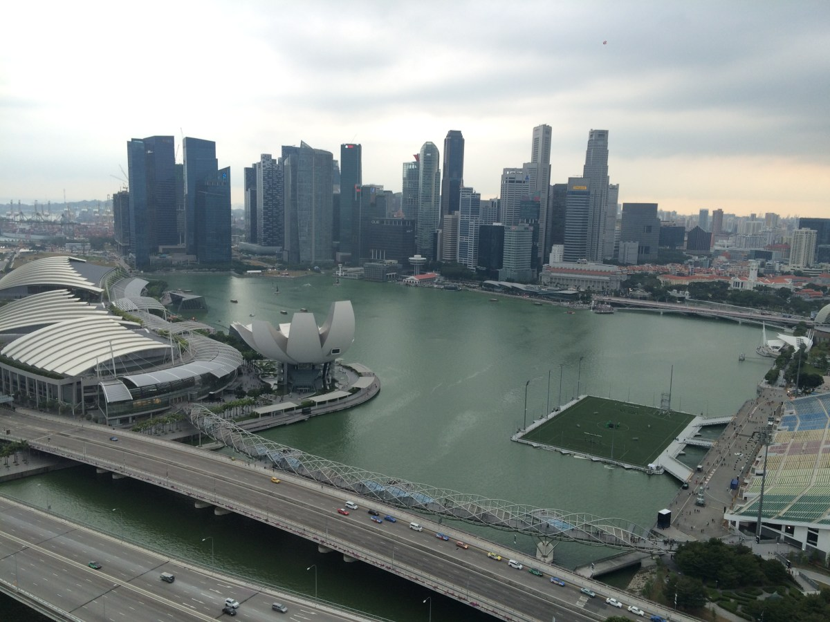 Singapore's downtown skyline as viewed from the Singapore Flyer.