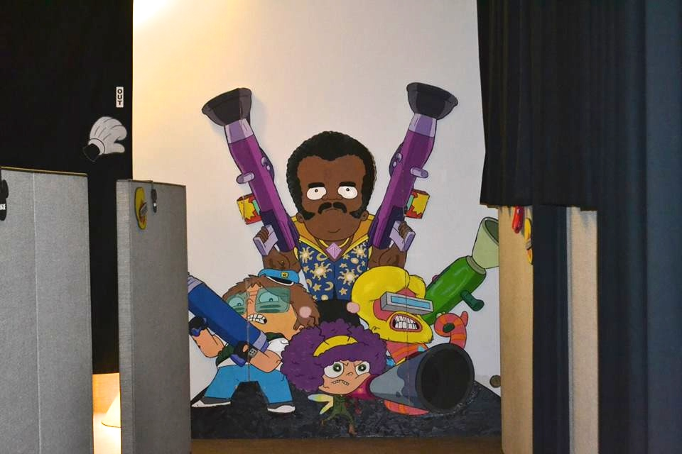 A Cut-Out of Neil deGrasse Tyson in Future-Worm! Production Offices (Cassandra Hsiao)