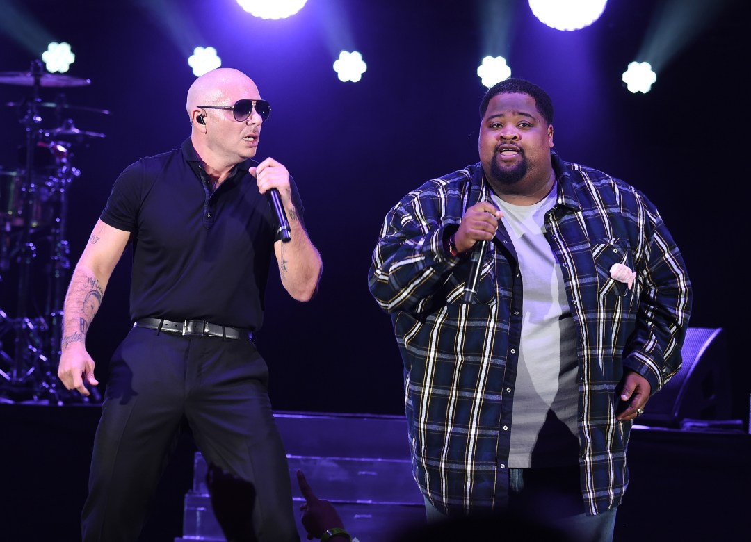 HOLLYWOOD, CA - OCTOBER 22: Recording artists Pitbull (L) and LunchMoney Lewis perform onstage during CBS RADIO's fourth annual We Can Survive concert at the Hollywood Bowl on October 22, 2016 in Hollywood, California. (Photo by Kevin Winter/Getty Images for CBS Radio, Inc.)