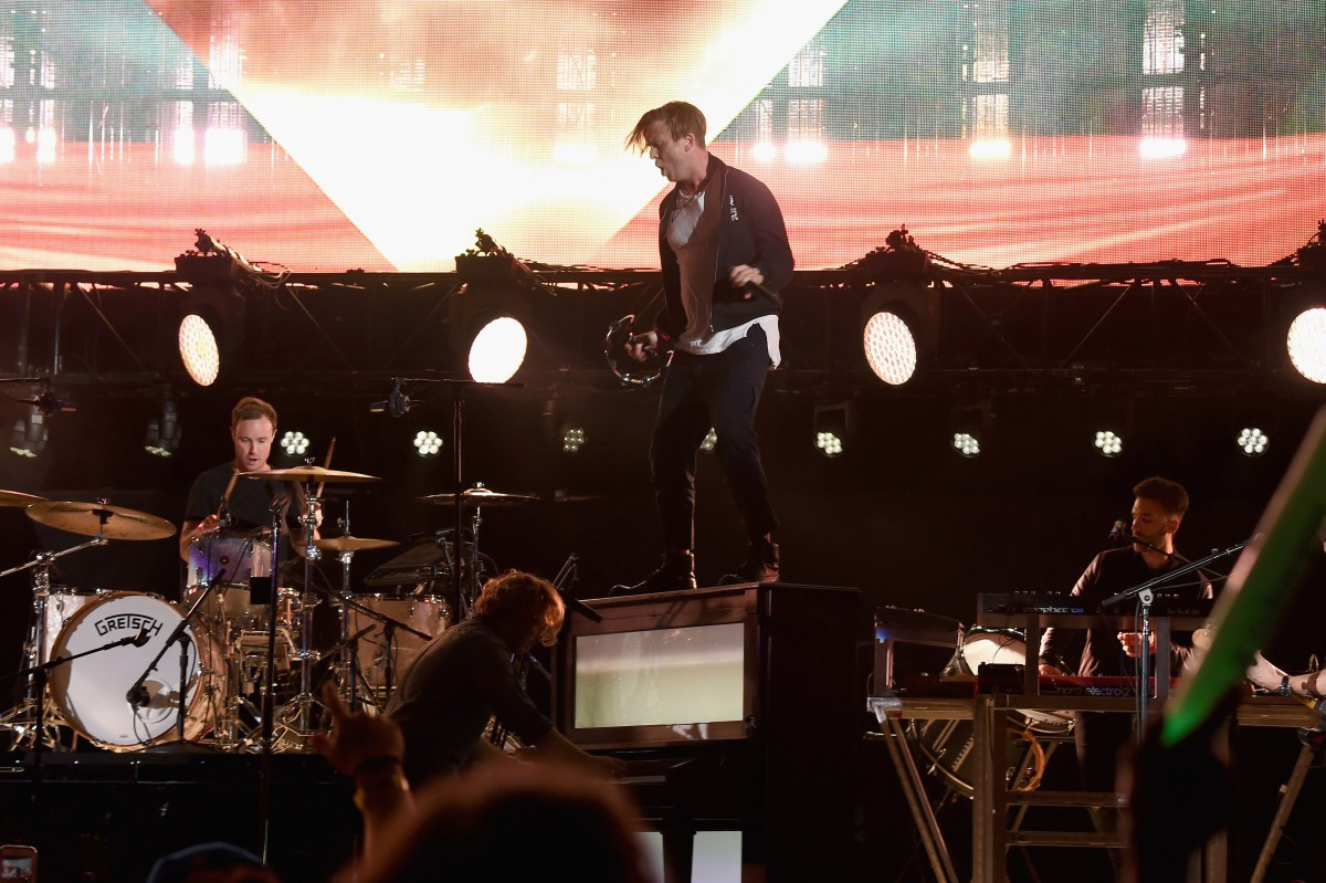 HOLLYWOOD, CA - OCTOBER 22: (L-R) Recording artists Eddie Fisher, Drew Brown, Ryan Tedder and Zach Filkins of OneRepublic perform onstage during CBS RADIO's fourth annual We Can Survive concert at the Hollywood Bowl on October 22, 2016 in Hollywood, California. (Photo by Kevin Winter/Getty Images for CBS Radio, Inc.)