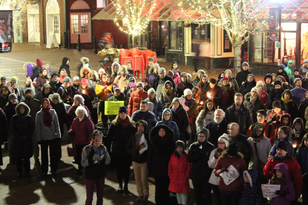 A crowd of around 200 people gathered in front of Burlington (Vt.) City Hall on Monday, Nov. 28 for a vigil in support of Syrian refugees.