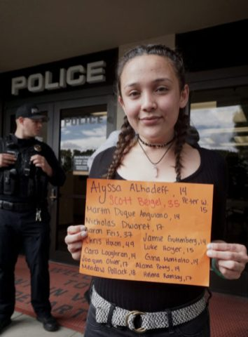"""""""I'm honestly really happy with how many people showed up, like I was tearing up earlier because this is a really sensitive subject to me and it's not fair that people should be in fear about us at school…[Schools] are where our safety is promised the most, and it's very necessary and important,"""" said senior Sam Bui."""