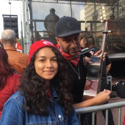 Melissa Diaz, left, with Tom Morello, a musician who plays for the bands Rage Against the Machine and Audioslave. Morello played at the UTLA Rally on Jan. 18. (Photo by Melissa Diaz)