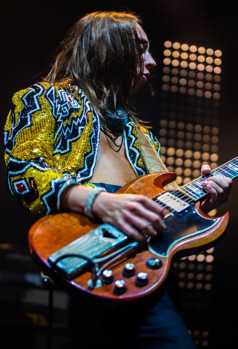 Jake Kiszka onstage during the second of Greta Van Fleet's two sold-out shows the Hollywood Palladium (Ashley Ramynke / L.A. Times College Insider)