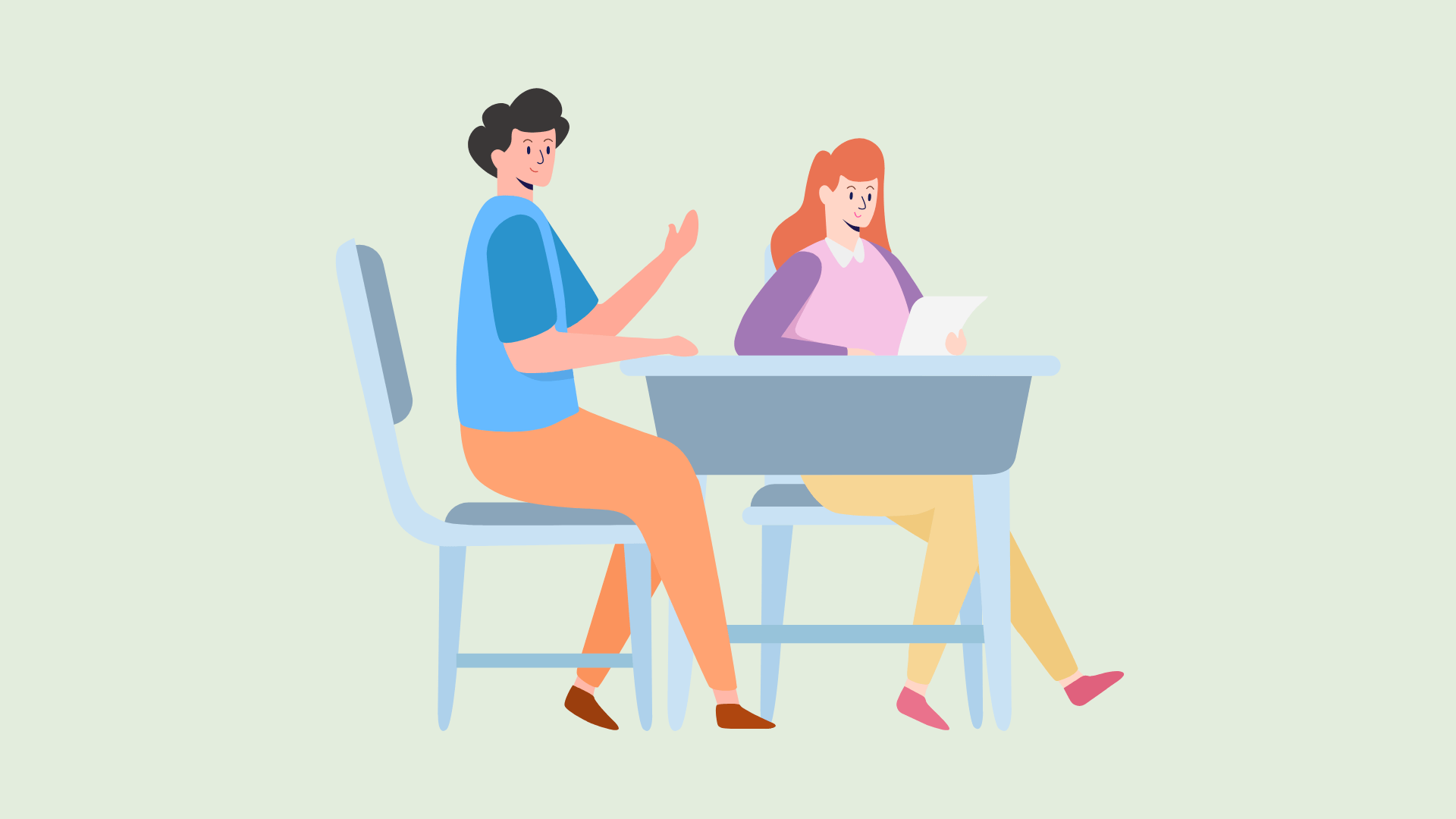 An illustrated image of two students sitting at a desk.