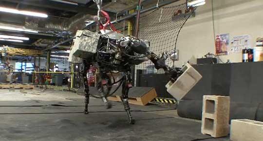 bigdog BigDog Robot Experiments Throwing Bricks