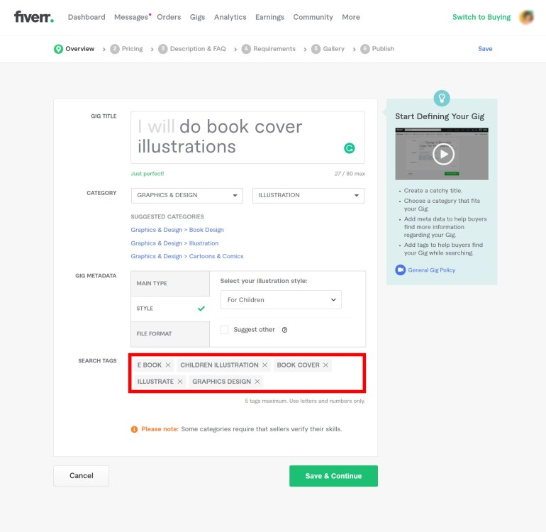 add relevant key tags to rank your gig on the first page in Fiverr