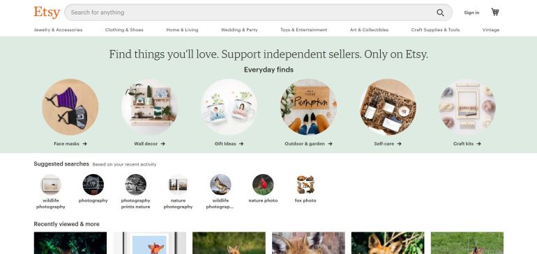 interface of etsy website