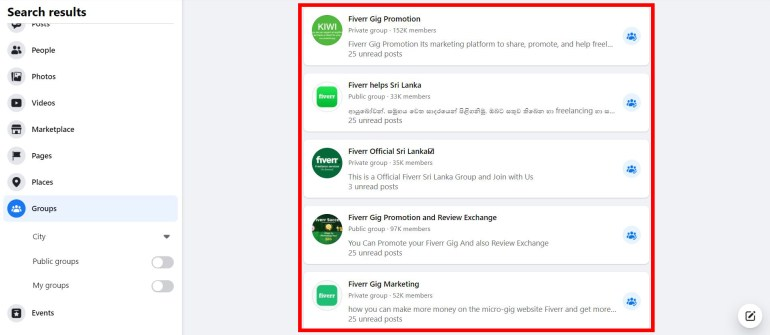 Fiverr groups on Facebook to share and get more reach to your gig