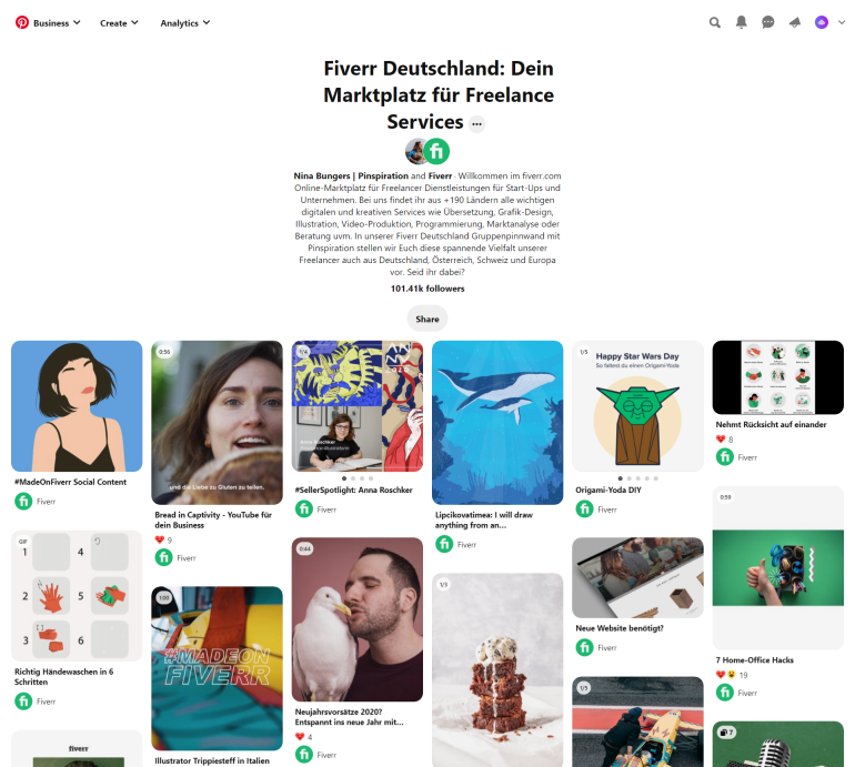 rank your fiverr gig by sharing on Pinterest