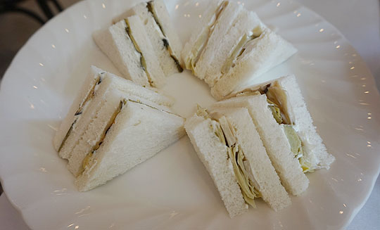 Sandwich selection at The Raffles Hotel