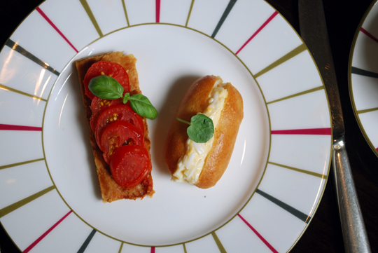 Heritage tomato tart and Egg mayonnaise with watercress sandwich
